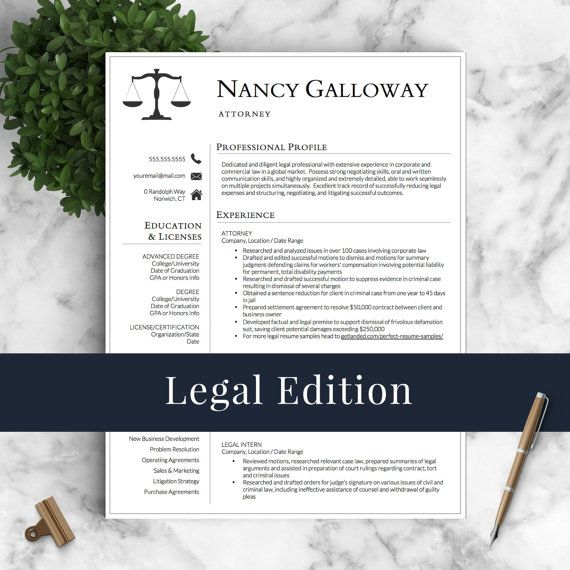 Legal Resume Template for Word and Pages | Lawyer Resume | Attorney Resume Instant Download