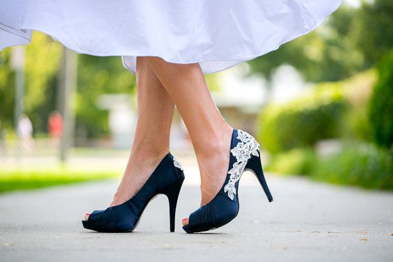 Wedding Shoes. Navy Blue Bridal Heels, Wedding Shoes with Ivory Lace. US Size 7.5 on Etsy, $89.00