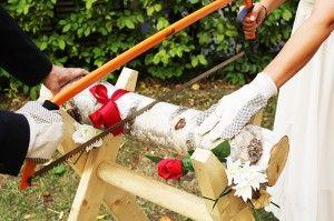 Tree trunk sawing - German Wedding Ceremony & Wedding Games