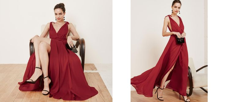 Do your bridesmaids a solid. This is floor length dress with a very deep v neck and bow strap detail.
