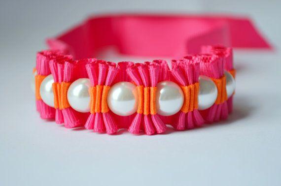 Shocking Pink and Tangerine Twilly Stripe Ribbon Bracelet by @twillypop