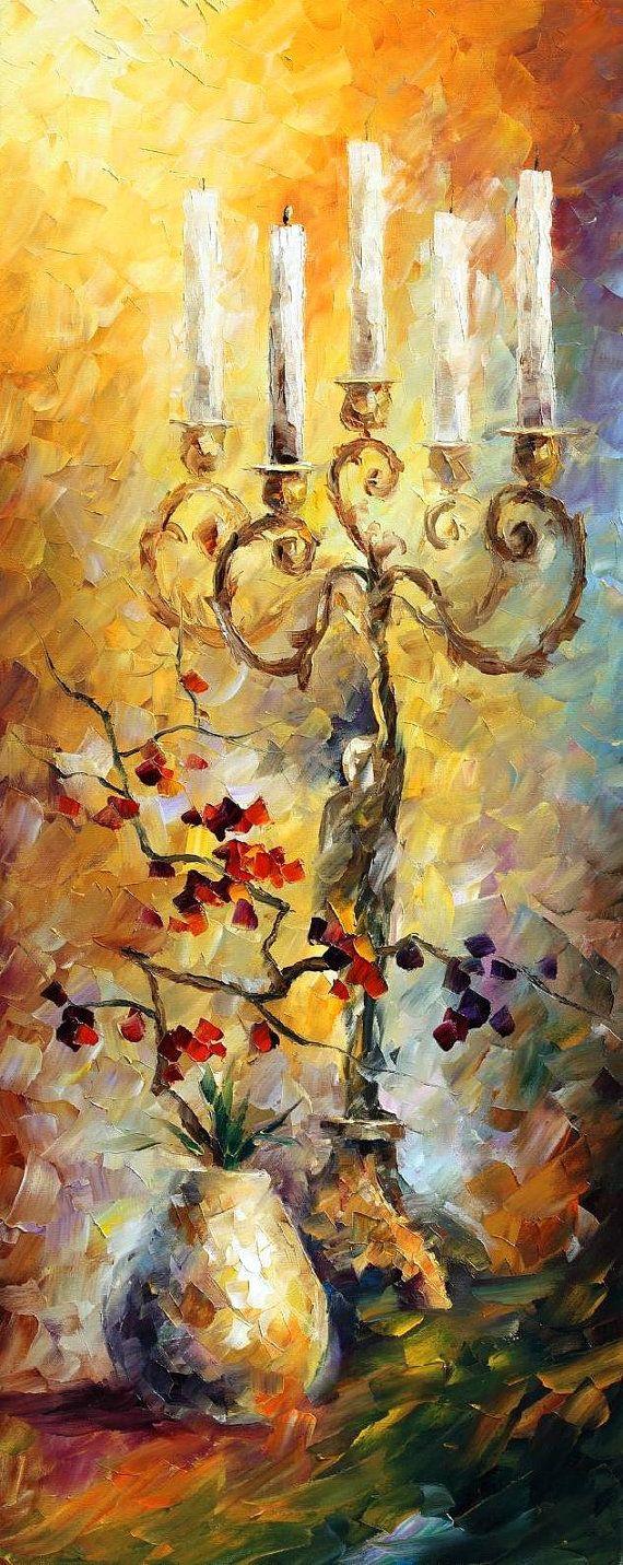 Sueños orientales juego de 3 pinturas espátula por AfremovArtStudio
