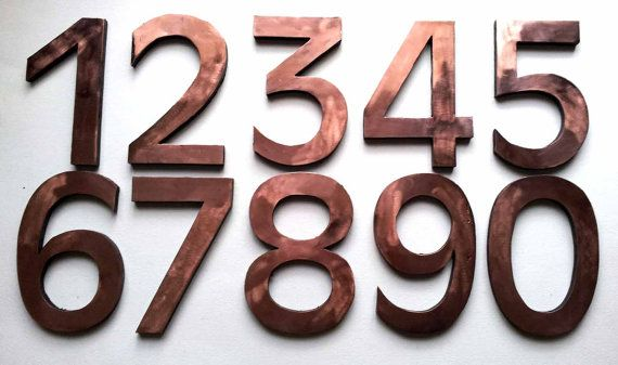 Antigoni font 'block style' copper house numbers.