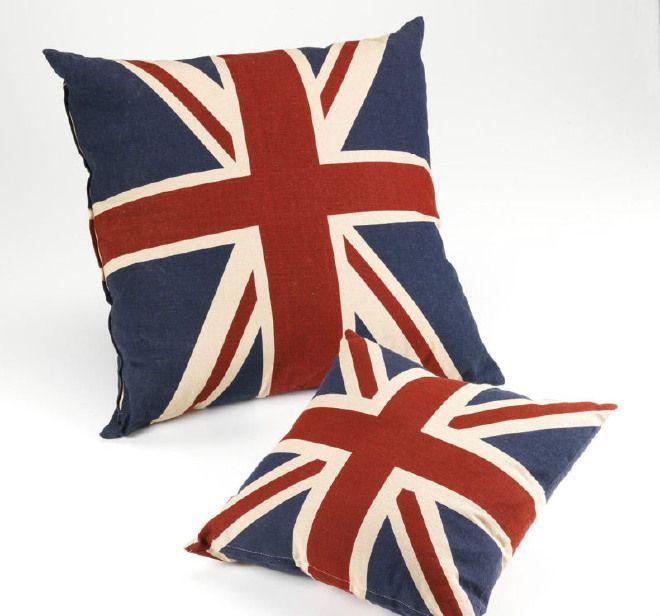 Cuscino Arredo Imbottito Union Jack Inghilterra Regno Unito 45x45 cm Sfoderabile