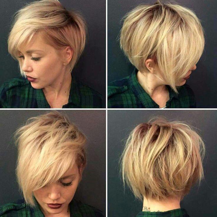 Blond Pixie hair cut. All angles