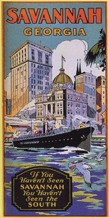 Amazon.com: SAVANNAH GEORGIA SHIP BOAT SOUTH TRAVEL TOURISM VINTAGE POSTER REPRO: Home & Kitchen