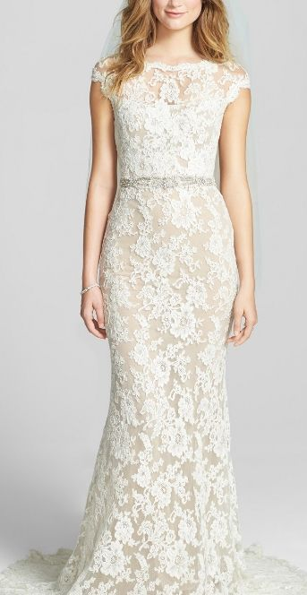 Creamy floral lace gown