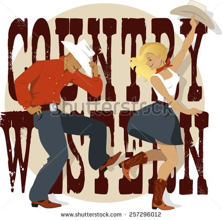 Stock Vector Cowboy And Cowgirl Dancing Country Western