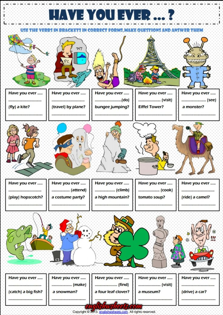 Have You Ever ..? Present Perfect Tense Exercise Worksheet