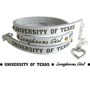 University of Texas - Longhorns Girl White Longhorns Girl Bracelet with Swarovski Crystals-leather, bracelet, necklace, swarovski crystals, collegiate, ut, texas, University of Texas, University Merchandise and Accessories