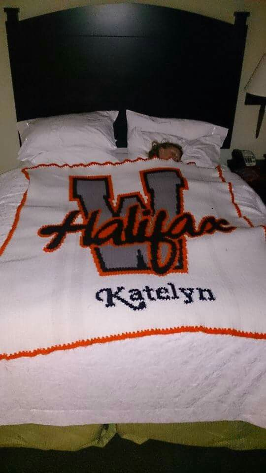 Designed by myself Customized Twin size blanket Made from my daughter's cheer team logo.