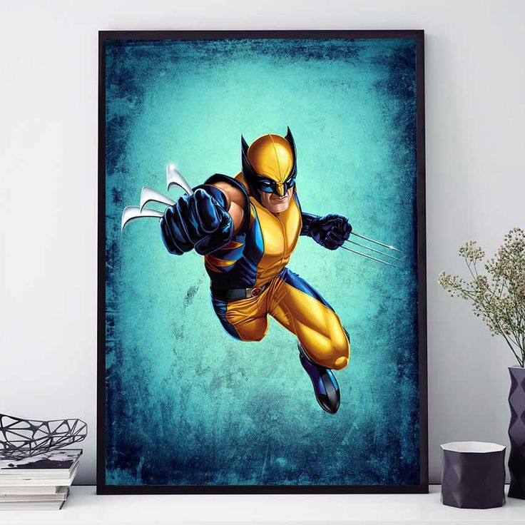 Wolverine Poster, Marvel Wolverine Art, X Men Painting, Marvel Comics Wall Art, Wolverine Print, Gift For Kids Room Poster (N4077) by PointDot on Etsy