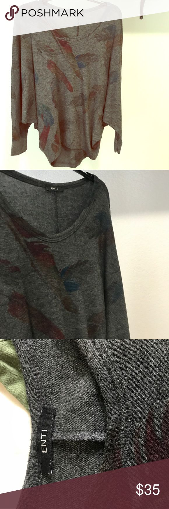 Feather Print Dolman Top Size  Small, Enti Top. Lightweight sweatshirt feel, Dolman sleeves, fun feather print. Purchased at St Bernard's in Austin, TX. Perfect Condition, never worn! Please No Trades or Holds. Only selling on Posh. Price is Firm. Enti Tops