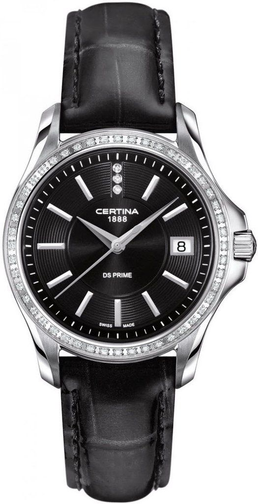 Certina Watch DS Prime Lady Round Quartz #bezel-diamond #bracelet-strap-leather #brand-certina #case-material-steel #case-width-32mm #date-yes #delivery-timescale-7-10-days #dial-colour-black #gender-ladies #luxury #movement-quartz-battery #official-stockist-for-certina-watches #packaging-certina-watch-packaging #style-dress #subcat-ds-prime-lady #supplier-model-no-c004-210-66-056-00 #warranty-certina-official-2-year-guarantee #water-resistant-100m