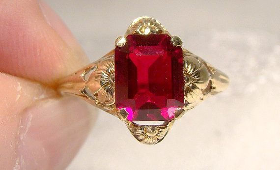 10K Art Nouveau Lab Created Ruby Ring 1910 1920 10 K Flower