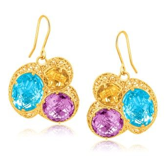 14K Yellow Gold Lace Earrings with Blue Topaz  Amethyst  and Citrine Gemstones www.tessard.se