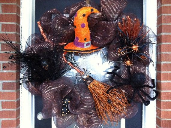 lighted raz halloween wreath deco mesh by redwithenvydesigns 16500 - Raz Halloween Decorations