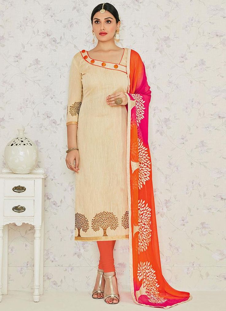 Subtle Jacquard Embroidered Work Churidar Suit