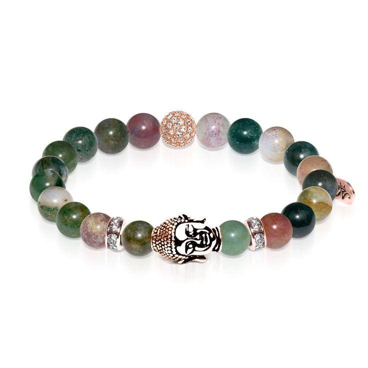 Samsara | Rose Gold Buddha | India Faceted Agate Bracelet