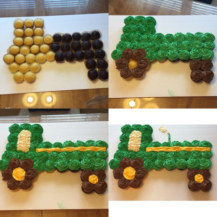 John Deere Tractor Cupcake Cake Steps Food Ideas