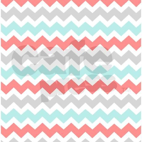 Coral Aqua Grey White Chevron Shower Curtain on CafePress.com