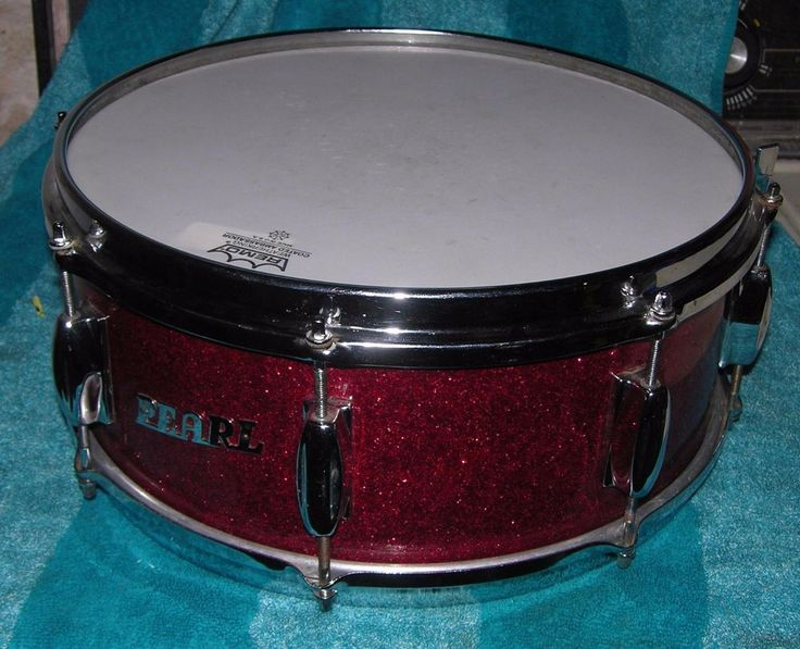 VINTAGE PEARL SNARE DRUM RED FLAKE METAL FLAKE METALFLAKE 14 INCH MADE IN JAPAN #Pearl