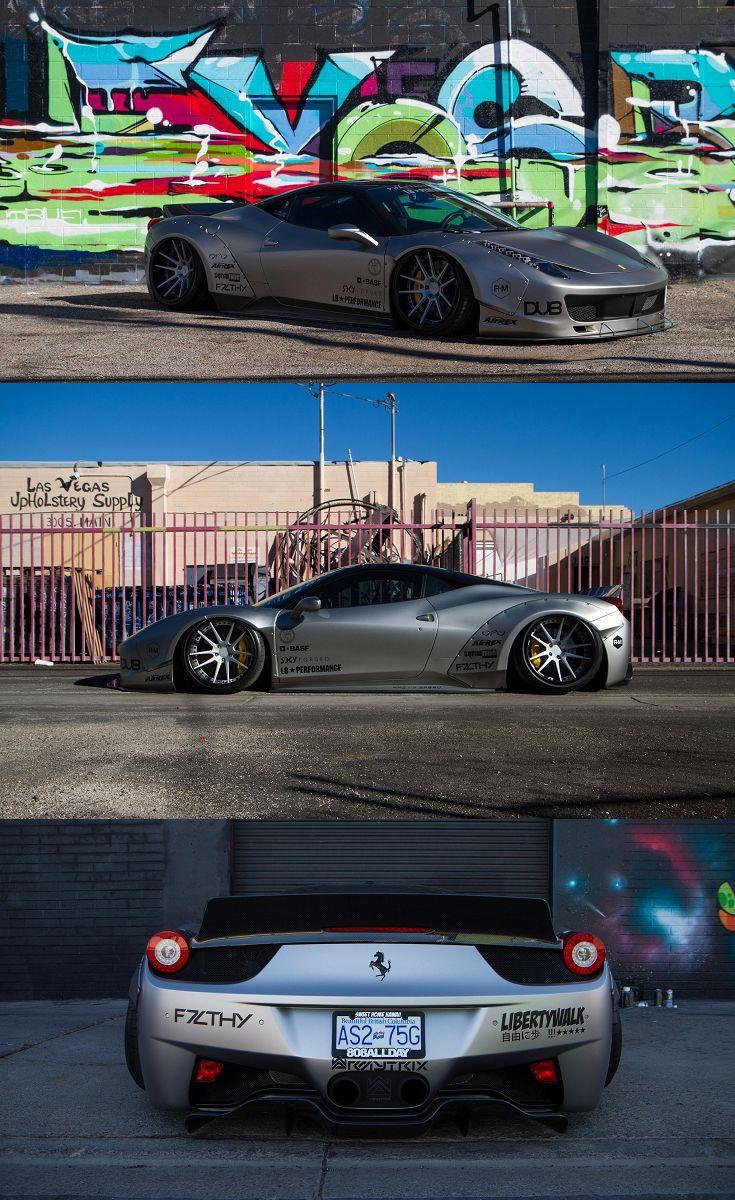 Gray Debadged Ferrari 458 with Liberty Walk Body Kit on ...