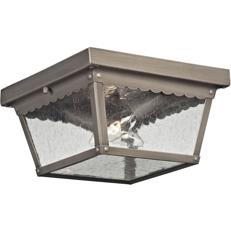 Springfield 2-Light Exterior Flush Mount in Antique Nickel | Cornerstone Lighting | Home Gallery Stores