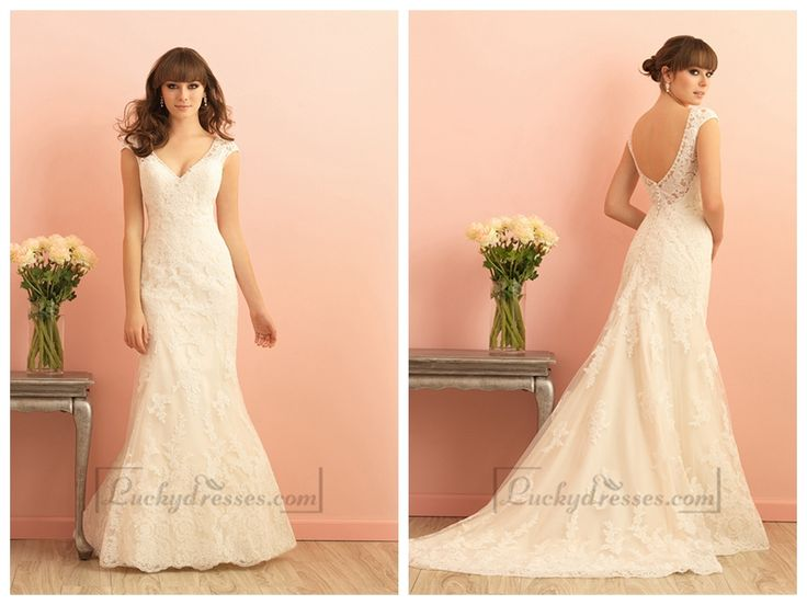 CAP SLEEVES V-NECKLINE MERMAID LACE WEDDING DRESS WITH SCOOP BACK