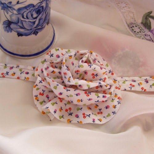diadema de tela flores nia hecha a mano de regalos - Diademas De Tela