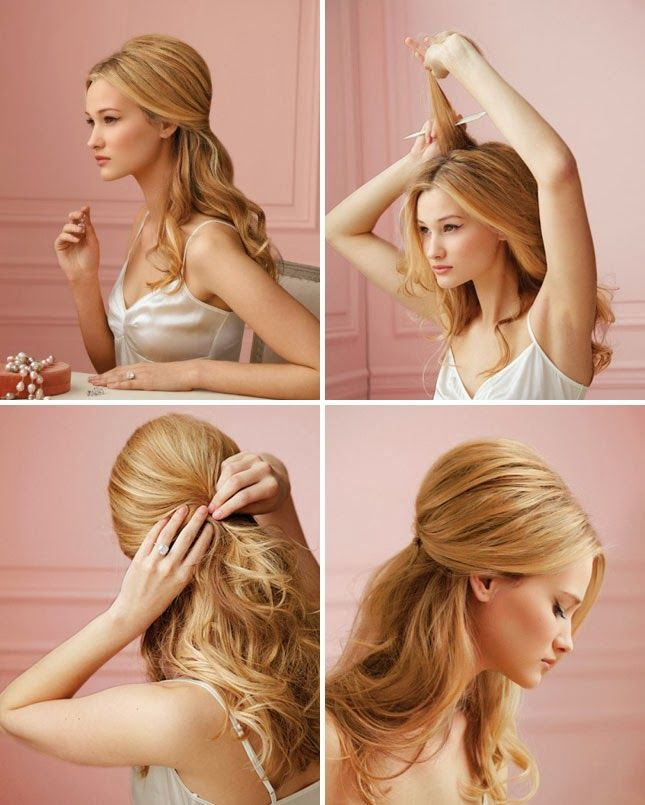 Hal-up/Half-down evening hair. Top half gathered into a bouffant toward the crown, bottom half in big soft curls.