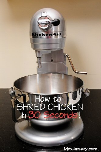 How to Shred Chicken in 30 Seconds or Less. @jen Treat This seems like a trick that would be right up your alley. Just did this for chicken chili and it worked amazingly!
