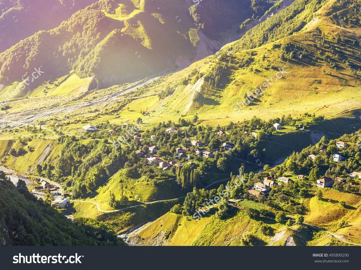 beautiful mountain landscape. The small village in the high mountains of Georgia.