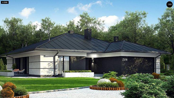 Проект ститьного одноэтажного дома с просторной террасой и с гаражом на два автомобиля S3-186-5 (Z378). Визаулизация 1. Shop-project