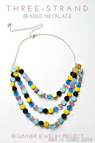 Simple Three Strand Beaded Necklace Tutorial