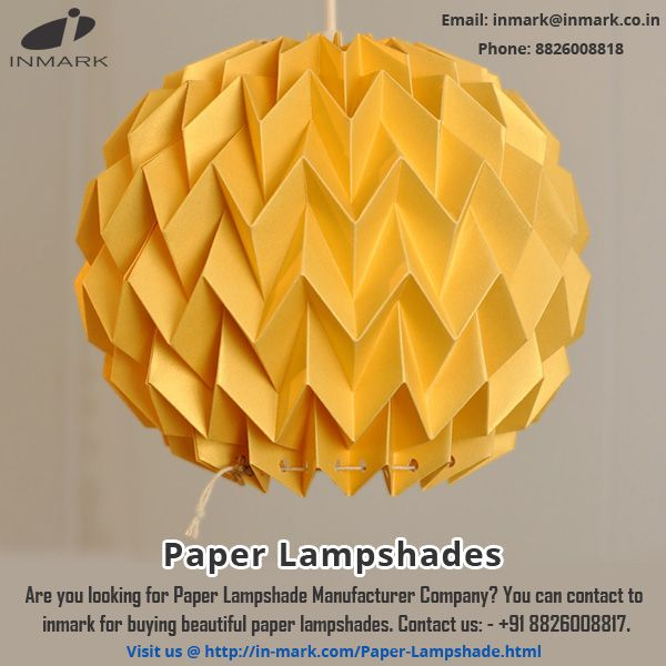 Are you looking for paper lampshade manufacture? You can contact to inmark for buying beautiful paper lamshades. For more information visit: http://in-mark.com/paper-lampshade.html