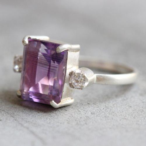 OOAK Amethyst ring - white topaz ring - Prong set ring - engagement  $155.00