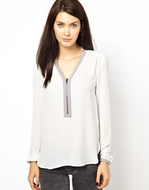 Zip Front Long Sleeve Blouse 72