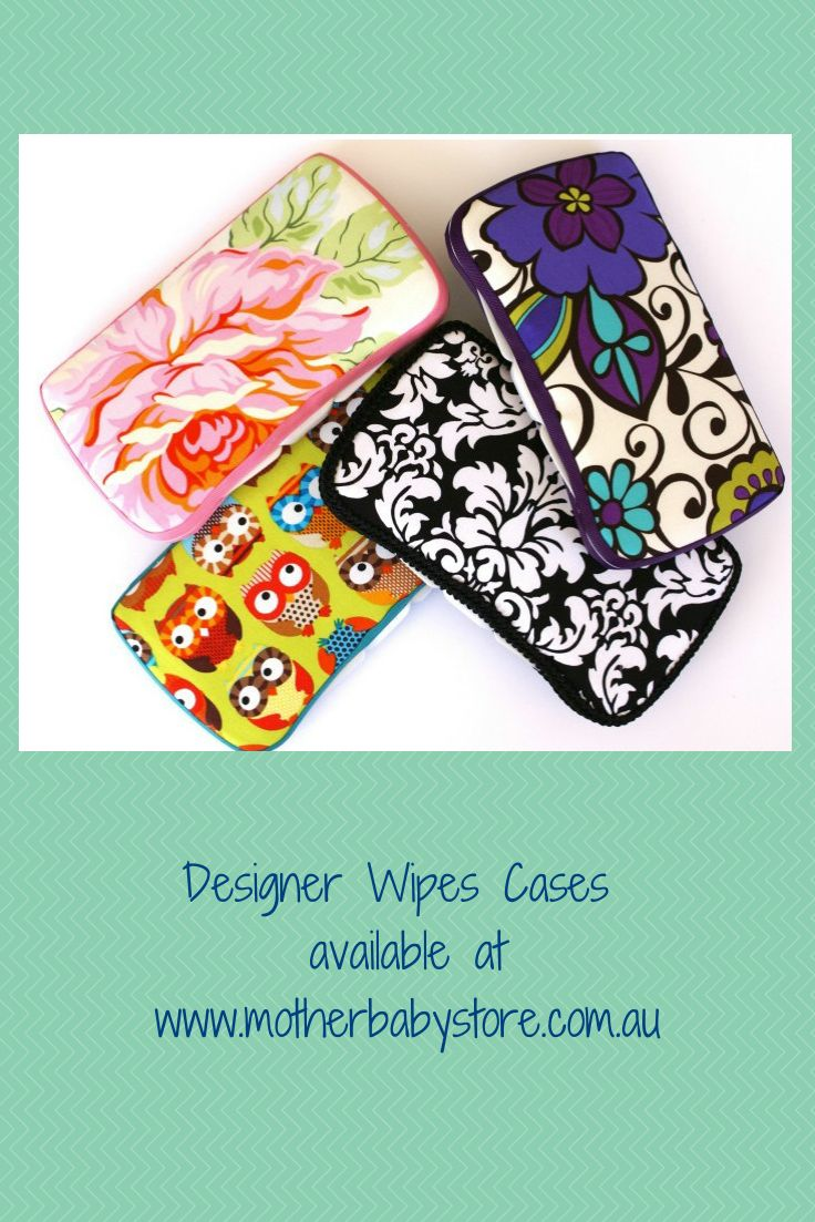 Gift idea - Designer Wipes Cases - a Huggies pop top plastic case, covered in fabric with padded lid and ribbon/braid trim available at www.motherbabystore.com.au