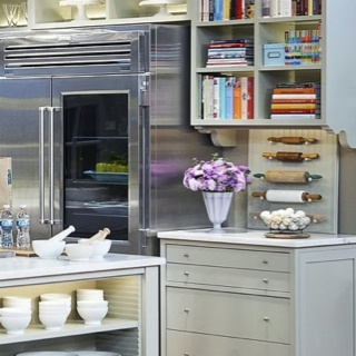 cookbook storage, rolling pin collection.....shelves on island for creamware!  Storage, storage, storage!!!!