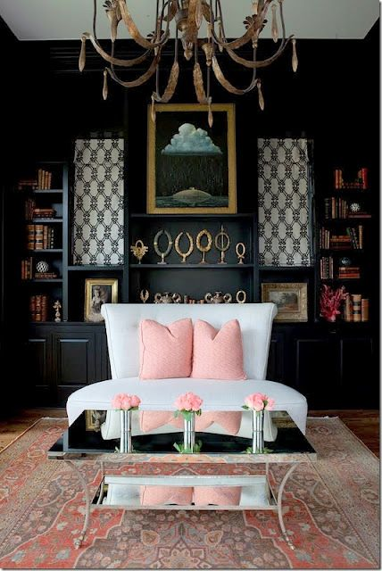 I'm not usually a fan of pink but this soft pink is gorgeous against the aged gold and black.  Using the lighter patterned roman blinds creates interest in the solid black wall of cabinetry.