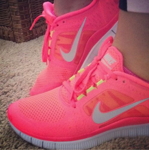 Neon Pink Nike Free Run cute! If I only ran more....