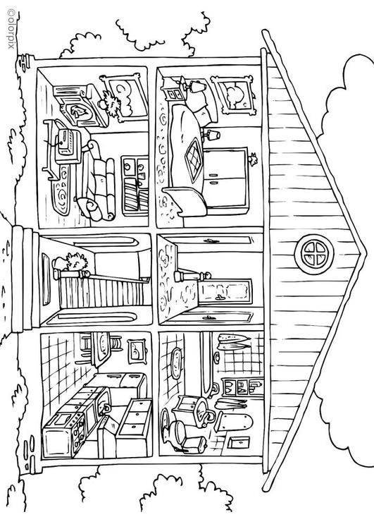 Coloring page house - interior - coloring picture house - interior. Free coloring sheets to print and download. Images for schools and education - teaching materials. Img 26229.