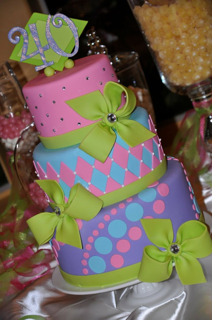 outdoor decorating for a Fabulous 40 Party   Designer Cakes By April: Colorful 40th Birthday Cake