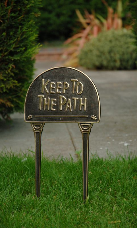 "Solid brass & black ""Keep To The Path"" lawn sign - Lawn Signs - Plant-Veg-Herb Labels - Garden Planters & Accessories - Garden & Outdoor Living - Catalogue  