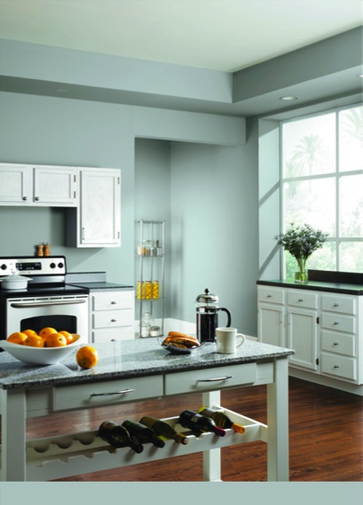 Breezy sw 7616 creates a bright and relaxing kitchen for Bright kitchen paint colors