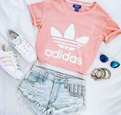 pink adidas shirt, pink superstars, and shorts