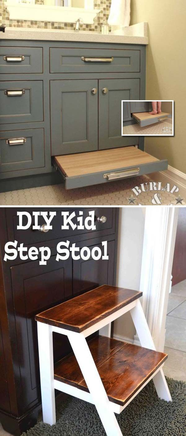Install a pull-out drawer stool to reach the sink or DIY a step stool.