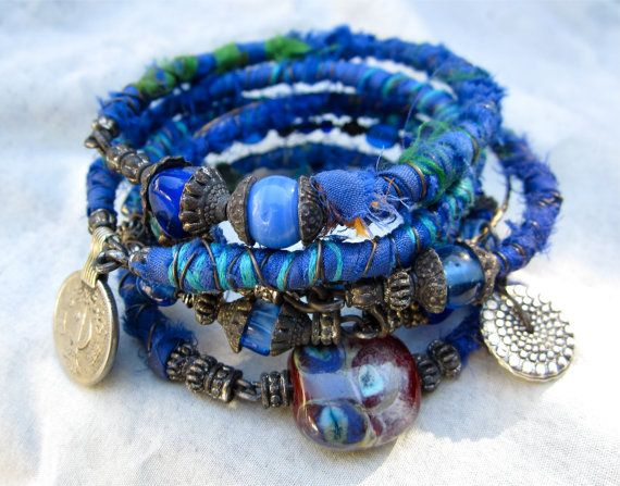 Bohemian Rapsody in Blue. Tribal gypsy bangle stack by beatnheart, $48.00