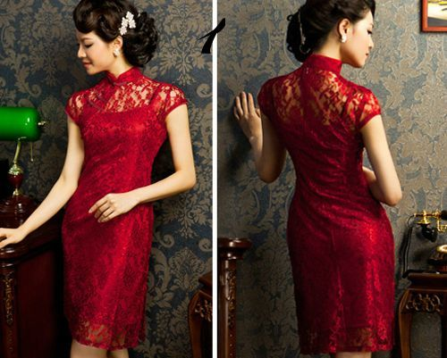 red lace qipao